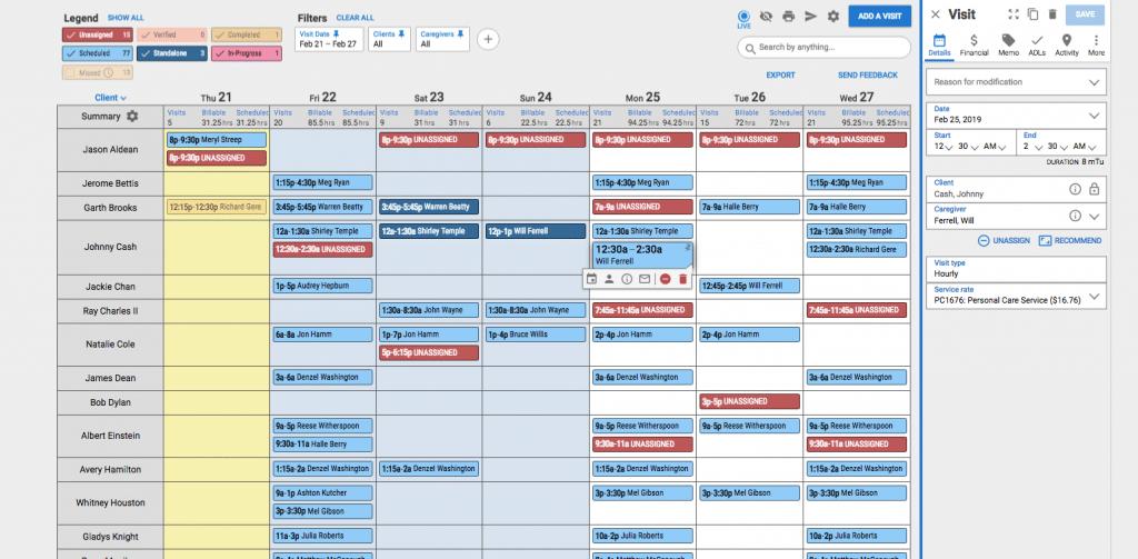 Home care Scheduling Software Calendar