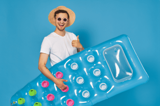 Man Dressed for a Pool Party